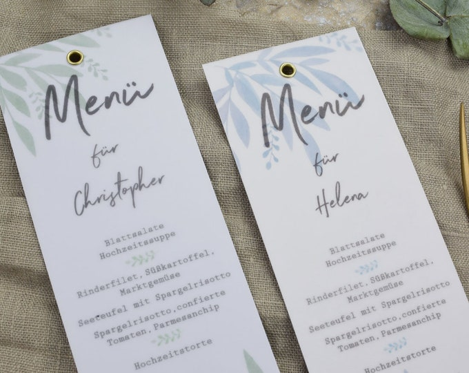 Menu card wedding motif -MBlue/Green Love wedding menu, custom menu, incl. name print