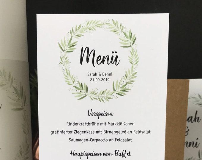 Menu menu wedding motif-flowering lounger