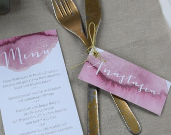 Trailer for guest gifts to the wedding table card, name card, place card, individually printed, vintage wedding