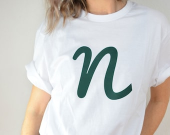 Unisex T-Shirt mit individuellem Buchstabendruck, Herren T-Shirt, Damen T-Shirt, weißes T-Shirt, personalsierbar
