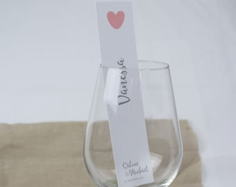 "Place card , table card ""Yes"" wedding, glass display"