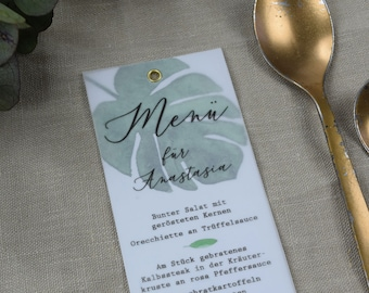 Menu card wedding motif -Monstera love- wedding menu, custom menu, incl. name print