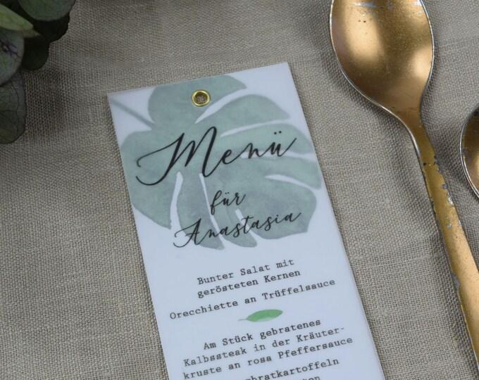 Menu menu wedding motif-Monstera love wedding menu, custom menu, including name printing