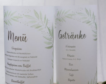 "Menu light, menu menu ""blossoming love"" illuminated, individually printed menu, menu menu for the wedding, wedding menu"