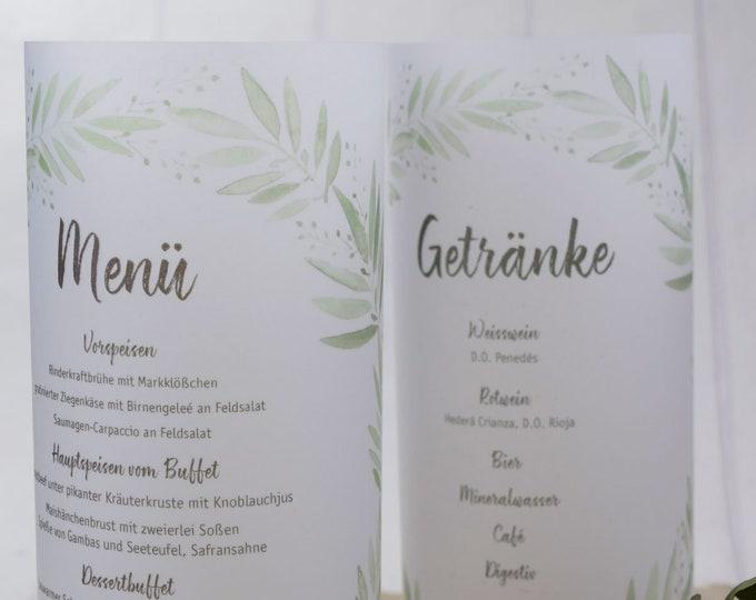 "Menu light, menu menu ""blossome-love"" lit, individually printed menu, menu for wedding, wedding menu"