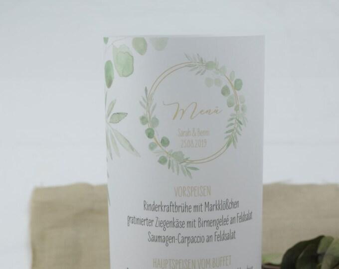 "Menu light, menu menu ""Ring Love"" lit, individually printed menu, menu for wedding, wedding menu"
