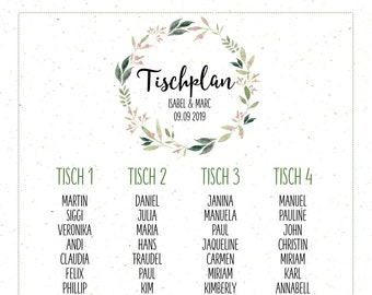 "Table plan ""Nature Love"" for the wedding, seating plan, table sign, wedding party, individually printed, personalized"