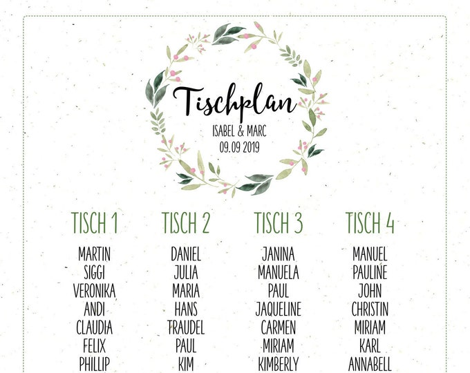 "Table plan ""Nature Love"" for the wedding, seating plan, table wisher, wedding feast, individually printed, personalized"
