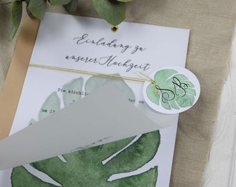"Wedding invitation ""Monstera-Love"" A5 including envelope, invitation card to the wedding, wedding card, personalized invitation card"