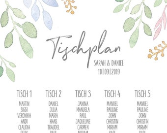 "Table plan ""Summer Love"" for the wedding"