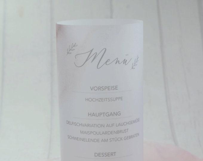 """Menu light/menu card """"delicate love"""" lit up"""