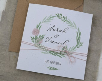 "Wedding Invitation ""Flower Love"" incl. envelope, wedding card, wedding invitation card, personalized wedding invitation card"