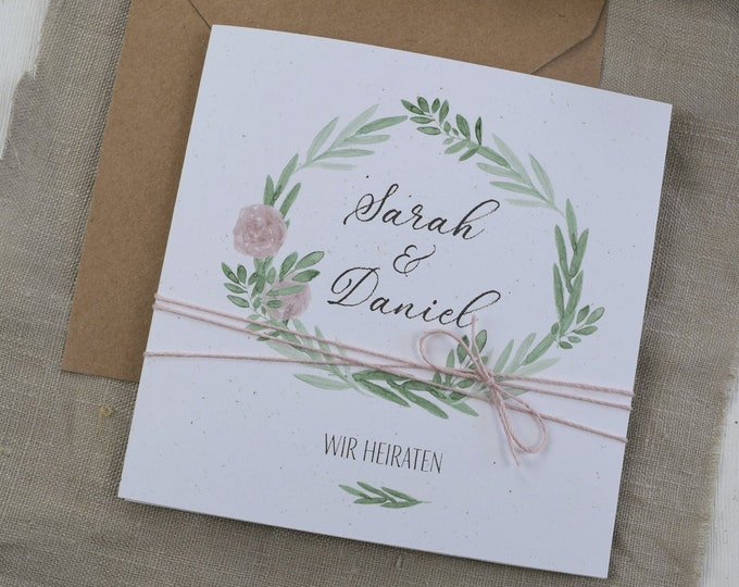 "Wedding invitation ""Flower Love"" including Kuvert, Wedding Card, Wedding Invitation Card, Personalized Invitation Card to the Wedding"