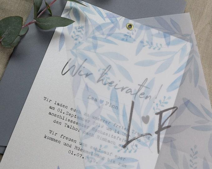 "Wedding invitation ""Blue Love"" A5 including envelope, wedding invitation card, wedding card, personalized invitation card"
