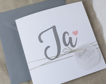 "Wedding invitation ""Yes"", individual invitation card to the wedding, wedding card incl envelope, square folding card"
