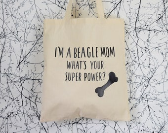 "Jute Bag, Cloth Bag ""Beagle Mom"" Dog, dog love, Shopping Bag"
