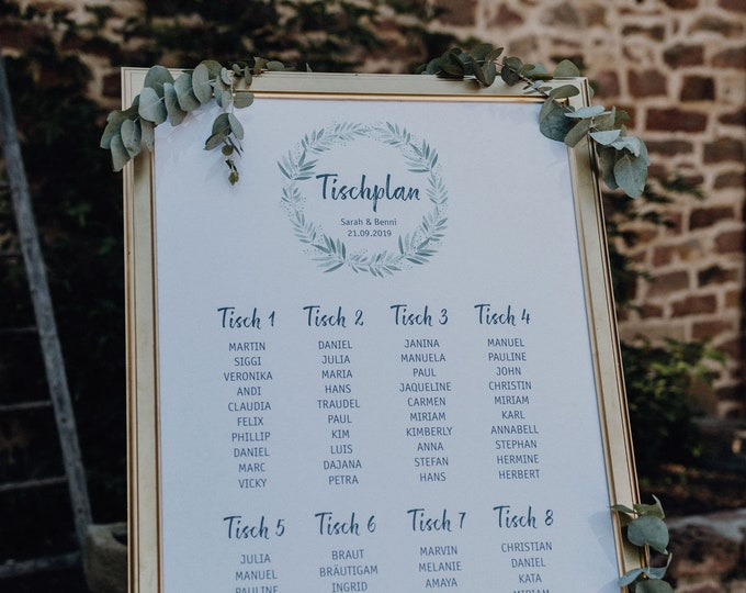 "Table plan ""blossoming love"" for the wedding, table softeness for the wedding, placer, individually printed, personalized"
