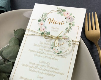Menu card wedding motif -Geometric-flower- wedding menu, wedding menu, vintage wedding