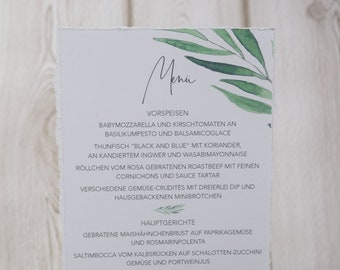 "Menu menu wedding motif ""lovely green"""