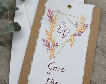 "Save the Date Card Wedding ""Geometric Boho"", Wedding Announcement, Wedding Card, Save the Date Card vintage"