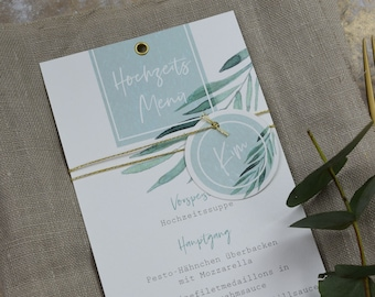 Menu Card Wedding Motif -Green & Gold-