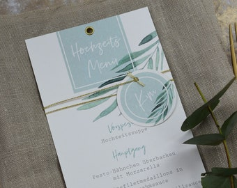 Menu Menu Wedding Motif -Green & Gold-