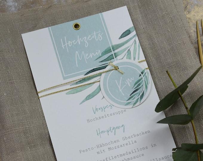 Menu Card Wedding Motif -Green & Gold-