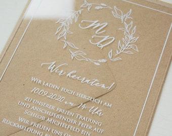 "Wedding invitation ""romance acrylic"", custom wedding invitation card, wedding card incl. envelope, acrylic card, white print"