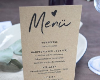 Menu card kraft paper - perfect for wedding, baptism and birthday