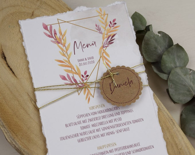 "Menu Card Wedding Motif ""Geometric Boho"""