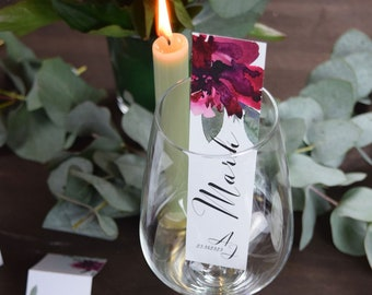 "Place card, place card ""Sage&Weinrot"""" Wedding, glass stand"