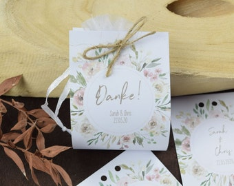 """Guest gift wedding """"watercolor flower"""" vintage, personalized gift for wedding guests, place card, wedding almond"""