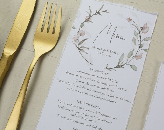 Featured listing image: Menu Card Wedding Motif -Pastel Flowers- Wedding Menu, Menu,