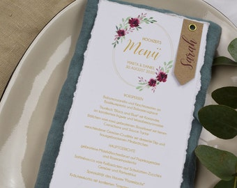 "Menu Card Wedding Motif ""Burgundy"""