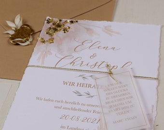 "Wedding invitation ""Peach & Gold"" A5 incl envelope, wedding card, watercolor design invitation card, gold embellism"