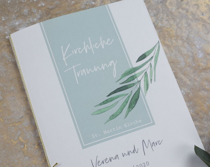 """Church booklet cover wedding """"Green & Gold"""", wedding booklet, church wedding ceremony, church leaf wedding"""