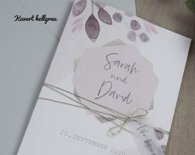 """Wedding Invitation """"Blush"""" Wedding Invitation Card, Custom Wedding Card, Summer Wedding"""