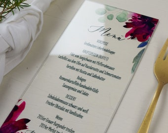 "ACRYLGLAS menu menu ""Sage&Weinrot"", custom menu menu for the wedding, acrylic menu"