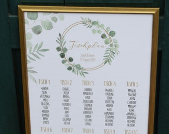 "Table plan ""Ring Love"" for the wedding"