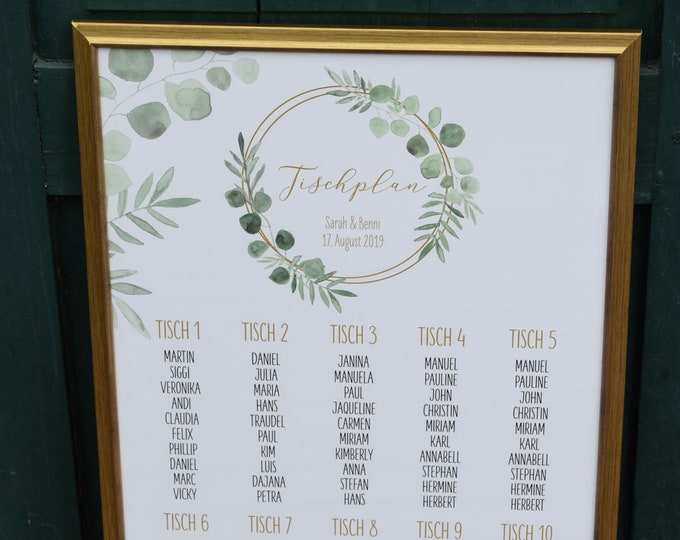 Table plan ' ring love ' for wedding