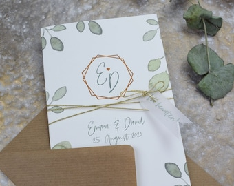 "Wedding invitation ""Greenery Love"" incl envelope, folding card, wedding card, invitation card in watercolor design, birthday invitation card"