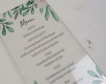 "ACRYLGLAS menu ""Blush&Green"", individual menu for the wedding, acrylic menu"