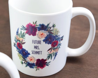 """Cup, """"Future Mrs"""", Motif """"Flowers"""" Wedding, Gift, Personalized Cup, JGA"""