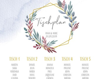 Table plan, boho love, place guide for the wedding