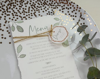 "Menu card wedding motif ""Greenery love"""