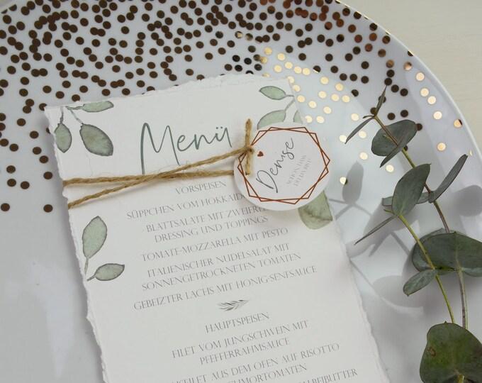 "Menu card wedding motif ""Greenery love"""