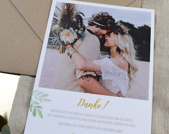 "Thank You Card Wedding ""Boho Green"", Wedding Thanksgiving, Custom Print, Polaroid Look"