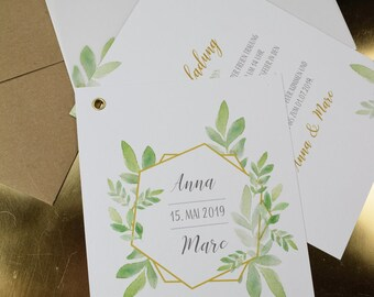 "Wedding Invitation ""Boho Gold"" Wedding Invitation, Boho Style, Fan Card"