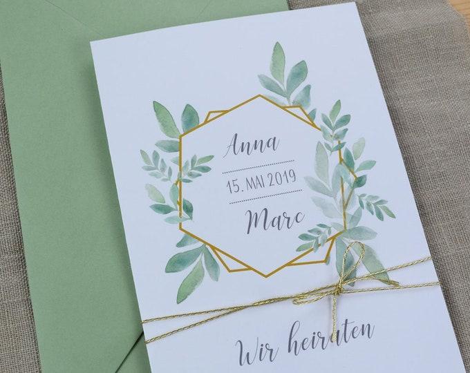 "Wedding invitation ""Boho-Gold"" invitation card to the wedding, individual wedding card, summer wedding"
