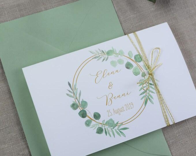 "Wedding invitation A6 ""Ring Love,"" custom invitation card, wedding card, personalized print"